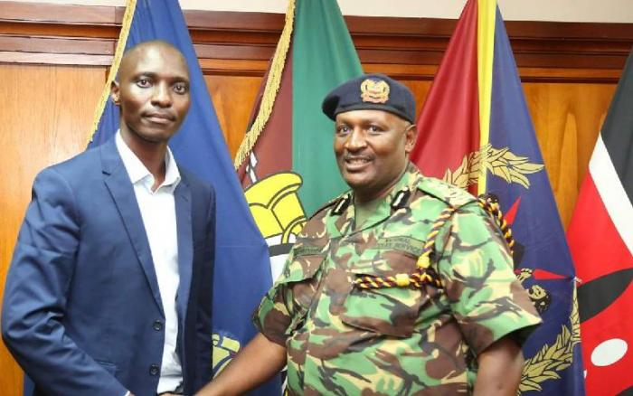 IG Mutyambai after meeting Asbel Kiprop on April 30, 2019.