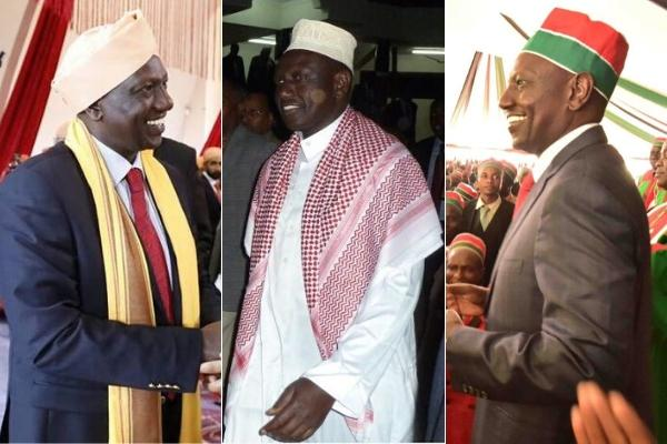 DP Ruto dressed in different regalia. He dresses up as per the religious events he graces