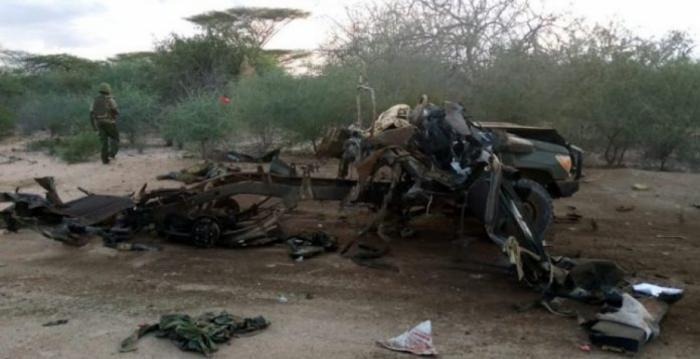 The aftermath of the attack near the Kenya-Somalia border that cost the lives of 11 police officers.