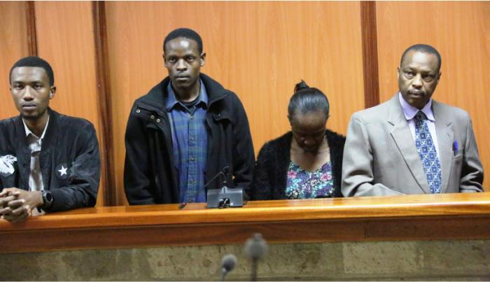 From right, Former government pathologist, Moses Njue, Lucy Kanyiri, Evans Nyagaka and Lemuel Muriithi (Njue's son) before Nyeri Senior Principal Magistrate's court where they are charged with operating a medical college illegally.