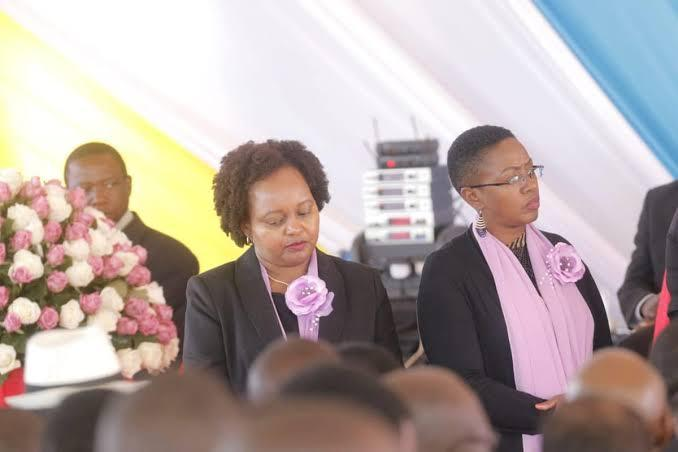 Kirinyaga governor Anne Waiguru(left) with Murang'a women representative Sabina Chege during the burial of the late Dr Joyce Laboso on August 3. Waiguru called upon Hillary Barchok to a woman as deputy governor in the honour of Laboso.