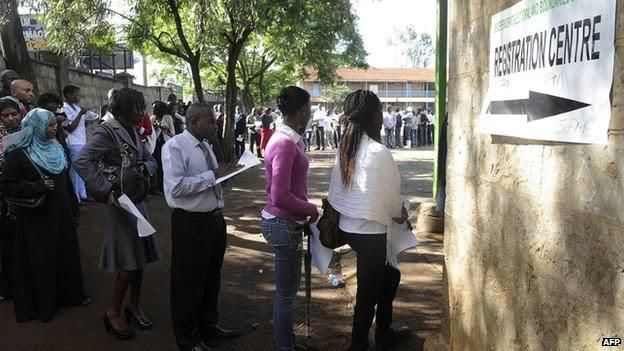 Kenyans cue to register as voters for the March 2013 general elections. The elections ushered in the new constitution on the devolution of government.