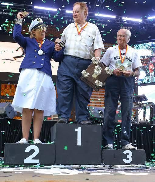 FROM LEFT: Veronica Wroe, John Wroe and Sati-Gati Aura on the podium during the 2019 Concours d'Elegance in Nairobi