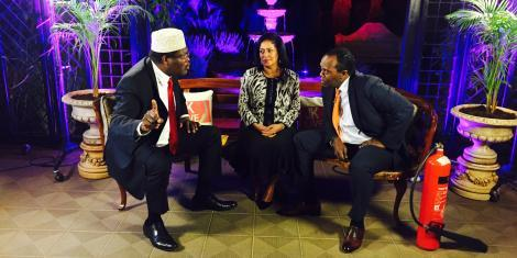 Miguna Miguna, Esther Passaris and eff Koinange during JKL interview on November 16, 2016. Miguna verbally attacked Passaris