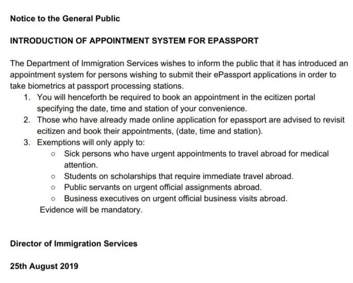 Notice from the Department of Immigration.