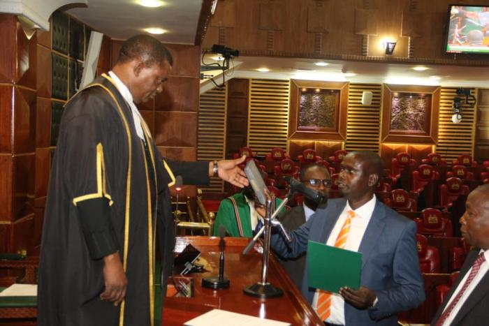 Imran Okoth sworn in as Kibra Member of Parliament by Speaker Justin Muturi, November 19, 2019.