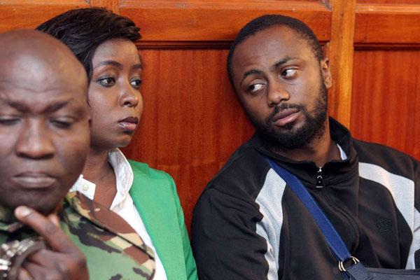 Jacque Maribe (left) and Joseph Irungu at the Milimani Law Courts on Monday, October 15, 2018