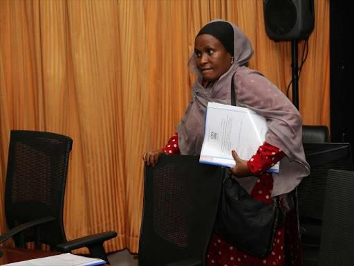 Isiolo Senator Fatuma Dullo. On October 16, 2019, the ad hoc committee she heads called for further investigation into the Managed Equipment Services