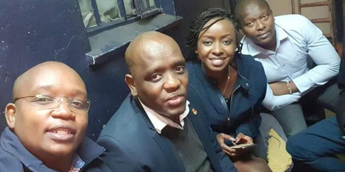Dennis Itumbi with Jacque Maribe and their friends at the Muthaiga Police station on Wednesday, July 3, 2019. Maribe was feted with an HSC award in 2018