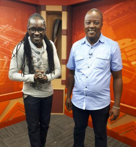 Mugithi host Jeff Njoroge (right) in studio on July 29, 2017.