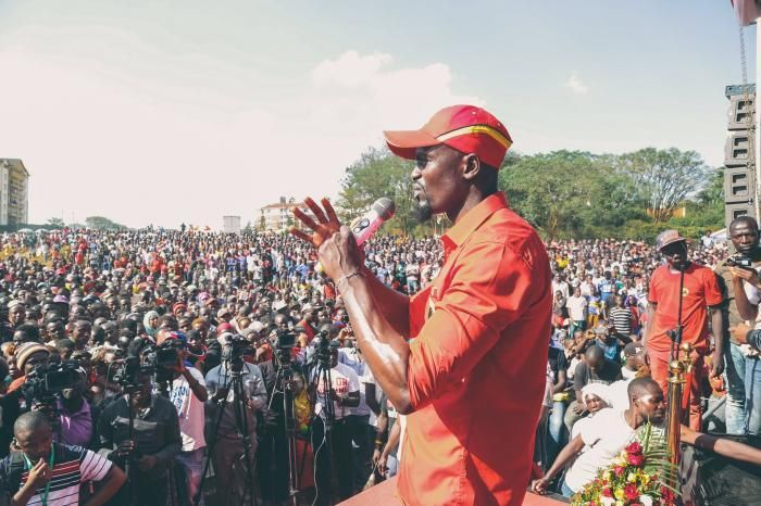 Jubilee Party's McDonald Mariga speaking to the residents of Kibra on September 29, 2019