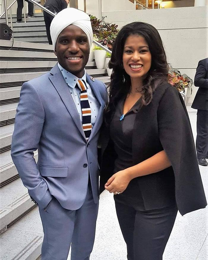 David Wachira poses with media personality Julie Gichuru in 2017 at the World Bank headquarters.