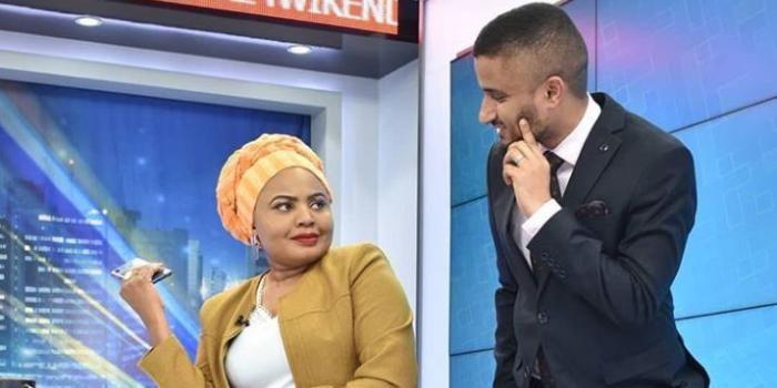 K24 TV News Anchors Mwanaisha Chidzuga and Ahmed Bhalo readying up for a news bulletin.