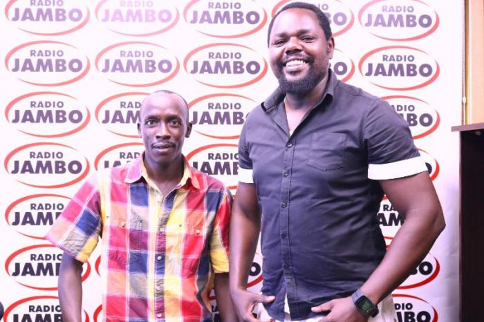 Ghetto Radio Brekko Show host King Kafu (L) and Robert Ochola (R).
