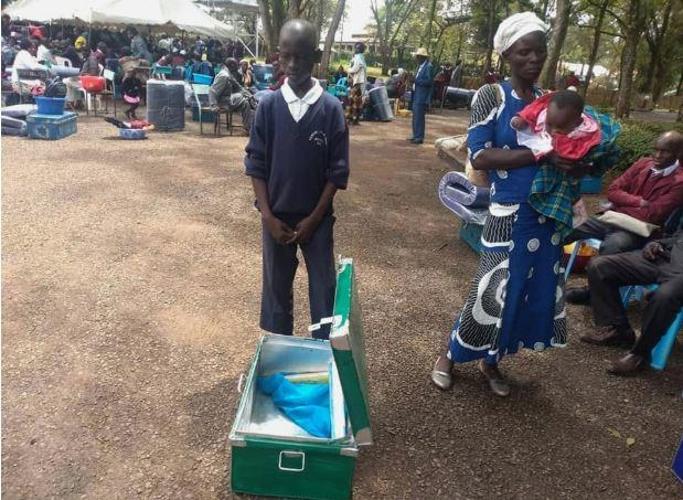 Levis Otieno Rabar and his mother Monica Otieno arrived for admission at Kanga High School with only a box and two bars of soap on Monday, January 13