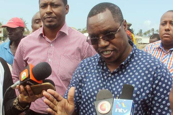 Kenya Broadcasting Corporation managing director Waithaka Waihenya on October 5, 2016, in Kisauni, Mombasa County addressing land wrangles between the county and KBC.