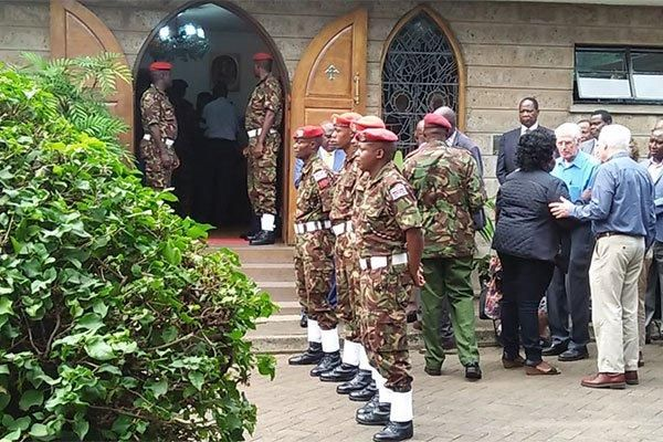 Kenya Defence Forces (KDF) soldiers at the Lee funeral Home on February 4, 2020 where the body of former President Daniel arap Moi is being preserved