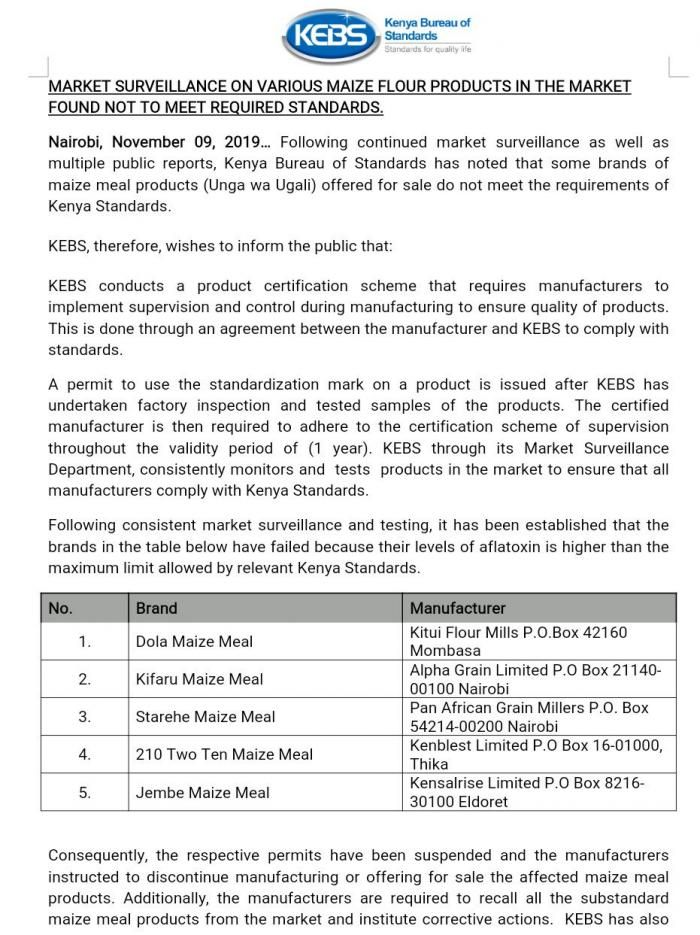 The statement by KEBS announcing the banning of five maize flour brands on Saturday, November 9.