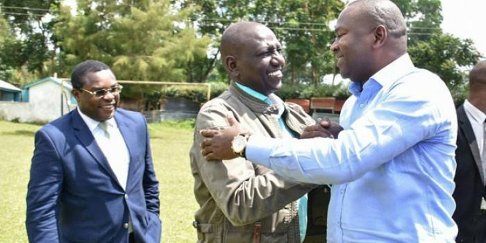 (From left) Senate Speaker Ken Lusaka, Deputy President William Ruto and former CS Rashid Echesa during a past Western region meeting