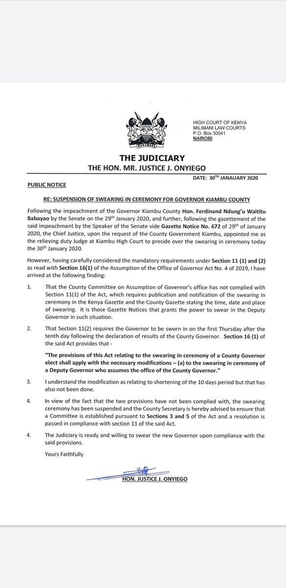 Image of Justice John Oyiengo's statement