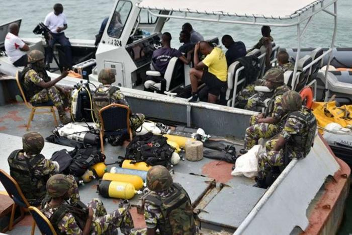 Naval officers from the Kenya Navy during the search operation at the Likon channel.
