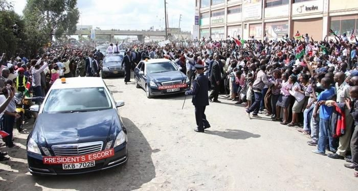 Kenya's presidential motorcade. Blocking the president's motorcade is considered a serious offence