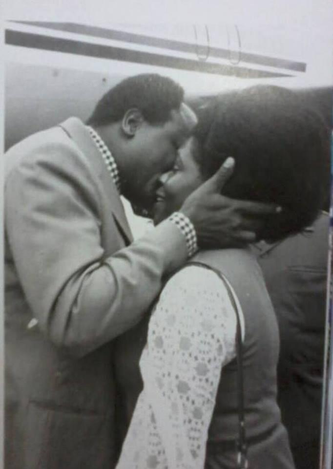 Lucy Kibaki and Mwai Kibaki share an intimate moment, undated,