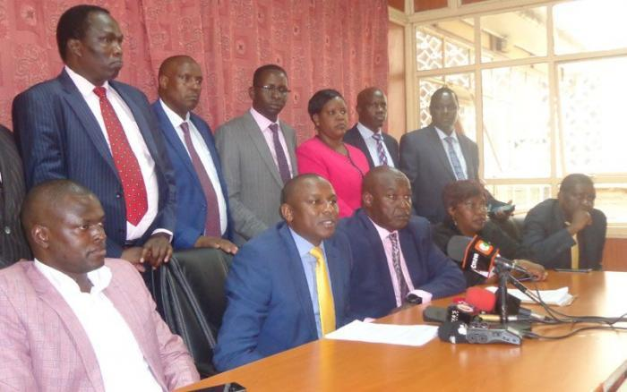 Kikuyu MP Kimani Ichung'wah and other Jubilee MPs during a press conference held on November 12, 2019.