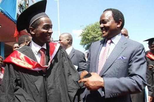 Klein Kalonzo with his father, Kalonzo Musyoka during his graduation at the University of Nairobi in 2014.