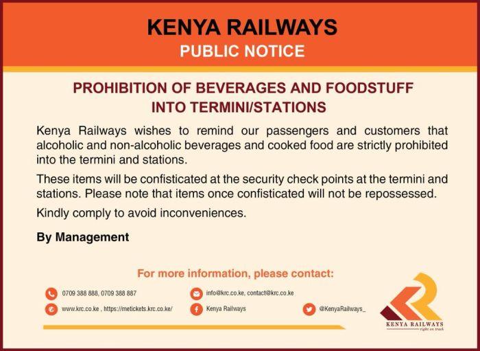 Kenya Railways notice on Prohibiting beverages and foodstuff on the train. Photo: Twitter