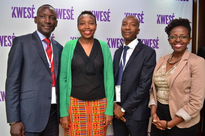 Former Kwese Kenya General Manager Monica Ndung'u (in black top) poses alongside other media executives at an event in Nairobi in October 2017