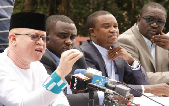 Nominated Senator Isaac Mwaura with MPs Cleophas Malala (Kakamega), Kuria Kimani (Molo) and Samuel Atandi (Alego Usonga) address the press in Nairobi in August 2019