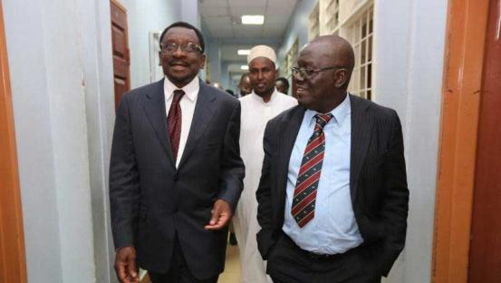 Lawyers James Orengo and Paul Mwangi during the ballot printing case at Milimani Law Courts in Nairobi in July 2017