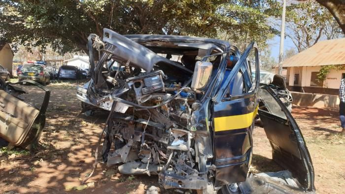The driver of the 14-seater matatu died after the vehicle collided head-on with saloon car