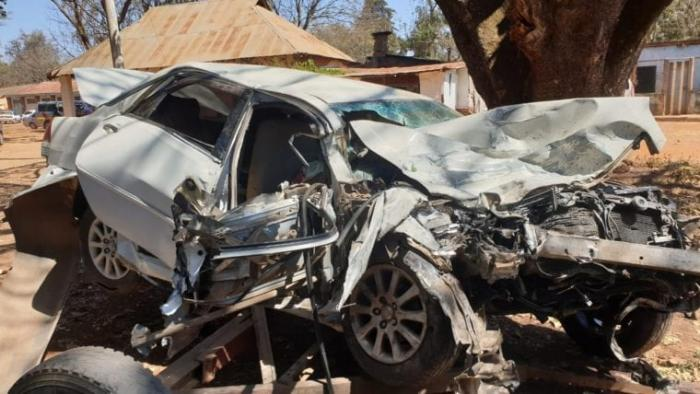 The saloon car collided head-on with a 14-seater matatu, killing four