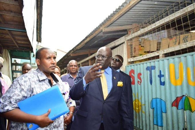 George Magoha and official from the Education Ministry when he visited Greenfield school in Mombasa on September 27. Photo: The Standard.
