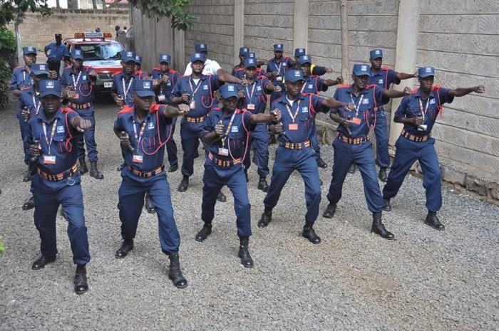 A photo of private security guards training