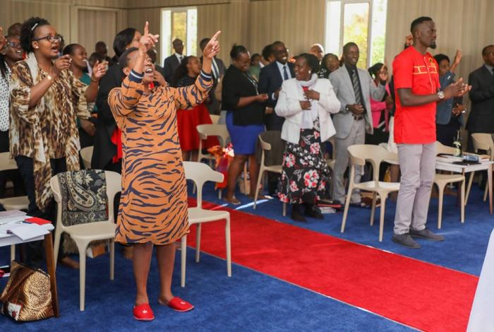 Rachel Ruto, McDonald Mariga and other worshippers at the National Prayer Altar church in Karen on Wednesday, October 30.