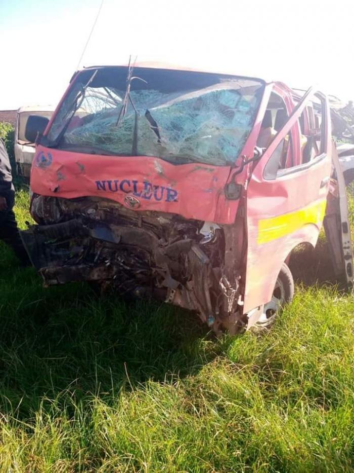 The matatu that was involved in an accident with Raphael Tuju at the Lari Police Station