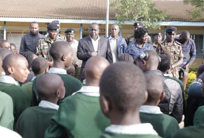 CS Matiang'i addressing pupils before they sat for their first paper on Tuesday, October 29.