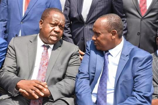 Interior CS Fred Matiang'i with the head of Public Service Joseph Kinyua at the start of the induction training for the new CASs in Nairobi on Wednesday, January 22.