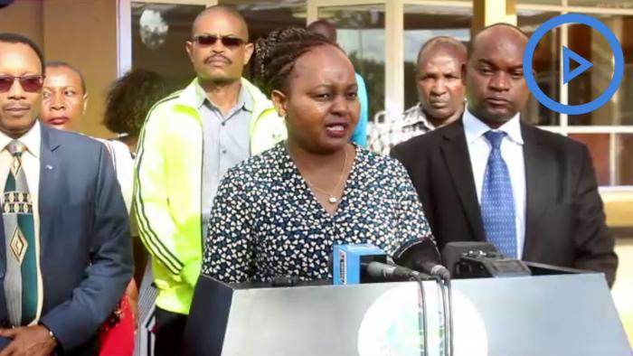 Kirinyaga Governor Anne Waiguru addressing the press in the county headquarters. She applauded the Members of county Assembly (MCAs) for rejecting the Punguza Mizigo Bill.