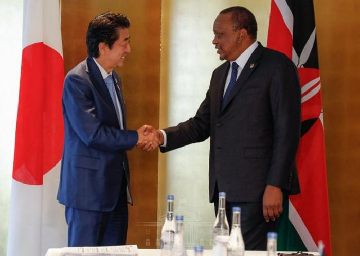 President Uhuru Kenyatta and Japan Prime Minister Shinzo Abe. The two held a bilateral meeting on 28/8/19