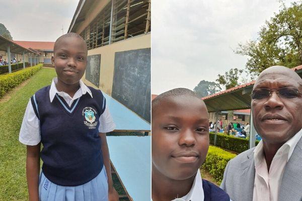 Former Kakamega Senator Boni Khalwale wth his daughter Gift Atubukhu as she reported to school on Monday, January 13