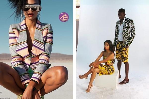 A model (l) marketing CS Amina's daughter's clothing line on a prominent European magazine, and two other wearing her kanga design
