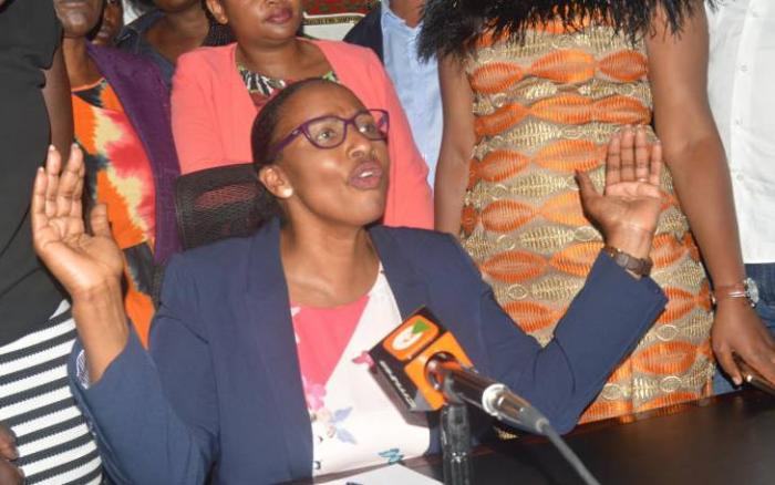 Beatrice Elachi addressing the media after her chaotic comeback as Nairobi speaker. Photo: Daily Nation.