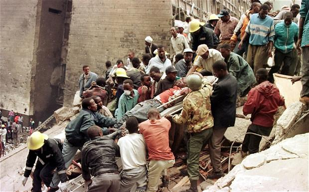 Rescue teams aiding the injured during August 8, 1998 bombing. The tragedy forced Jeff Koinange to cancel his first wedding