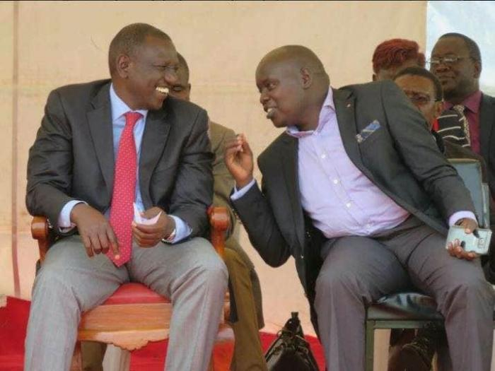 Nandi Senator Samson Cherargei (R) enjoying a hearty moment with Deputy President William Ruto at a past event. On Tuesday, December 3, 2019, he was arrested over incitement remarks he allegedly made in August