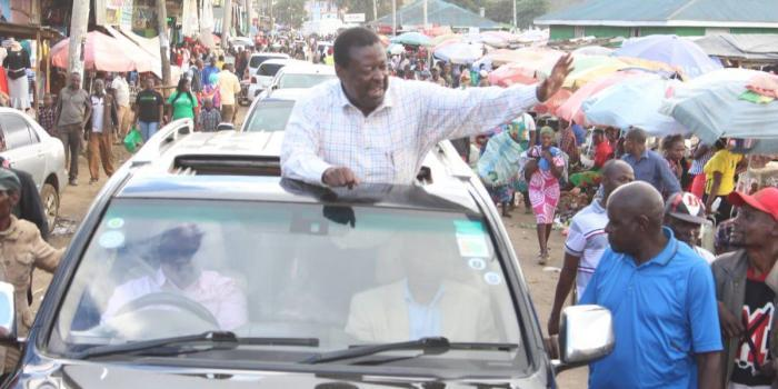 NC party leader Musalia Mudavadi during a previous campaign. His vehicle was stoned in Kibra while campaigning for his party's candidate Eliud Owalo on Sunday, October 27.