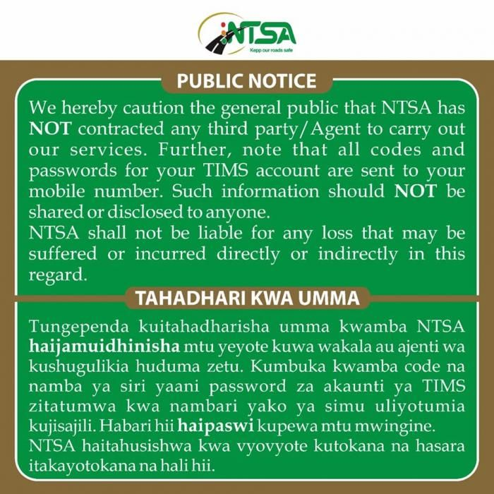 NTSA Warns Motorists On New Vehicle Registration Fraud